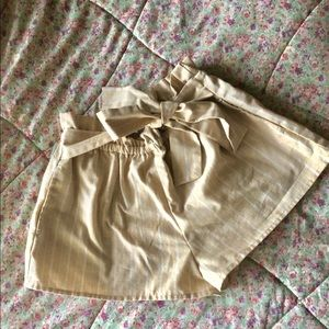 NWOT Striped Linen Shorts with Bow